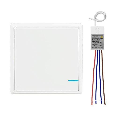 Lichtschalter Set, Thinkbee 1 Taste Funkschalter mit Empfänger Wasserdichter Wireless Lichtschalter Fernbedienung bis zu 600m Kontrollierte Geräte bis 1000W Einfache Installation, -30 ~ +75℃