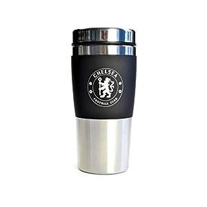 Chelsea FC Executive Handleless Travel Mug (One Size) (Black/Stainless Steel)