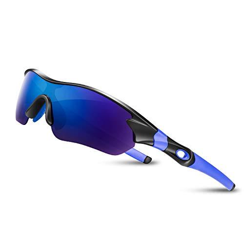 Bea CooL Gafas De Sol Polarizadas UV400, Gafas para MTB Bicicleta Montaña 100% De Protección UV (Negro Azul)