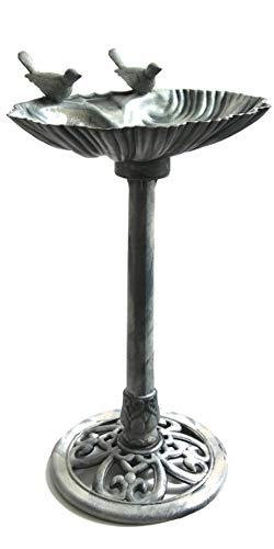 Bada Bing Stand Vogeltränke Aus Kunststoff In Grau Metall-Optik Bebürstet Höhe Ca. 80 cm Mit Zwei Vögel Stehend Mit Bodenheringe Für Einen Sicheren Stand Wasserschale Tränke Garten Deko 59