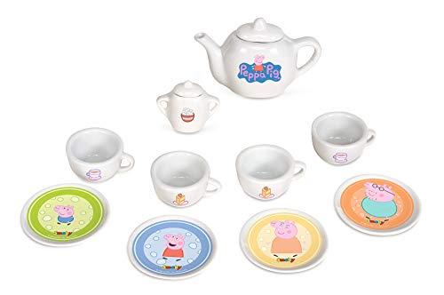 Smoby Peppa Pig Porzellan-Service 10-tlg Spielzeuggeschirr-Set mit Tasse, Teller, Zuckerdose, Teekanne, mit Aufdruck für Kinder ab 3 Jahren