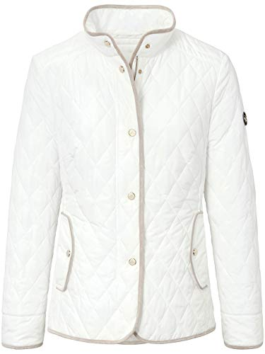 BASLER giacca da donna in tinta unita trapuntata con bordi a contrasto bianco 54