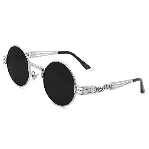 AMZTM Gafas de Sol Retro Steampunk Reflejado Gafas Redondo Vendimia Hippie para Mujer Y Hombre Lente Polarizada Marco de Metal Protección UV 400 (Plata Cuadro Gris Lente, 49)