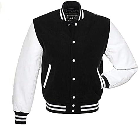 GREY Brand Varsity Jacket, Wool Body with Leather Arms Letterman Baseball Unique & Stylish 4XL (4XL)