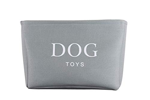 Grey Canvas Dog Toy Basket Box for Dogs Toy Storage. 40cms (16in) x 30cms...
