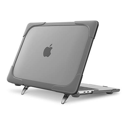 MOSISO Funda Dura Compatible con MacBook Pro 13 Pulgadas USB-C 2019 2018 2017 2016 A2159 A1989 A1706 A1708, Tarea Pesada Carcasa Protectora de Plástico con Soporte Plegable,Gris
