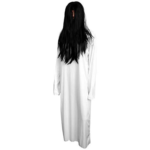 TomaiBaby Fantasma vestido de noiva branco terno zumbi branco terno assustador para decoração de festa de dança de Halloween (roupas brancas e peruca)