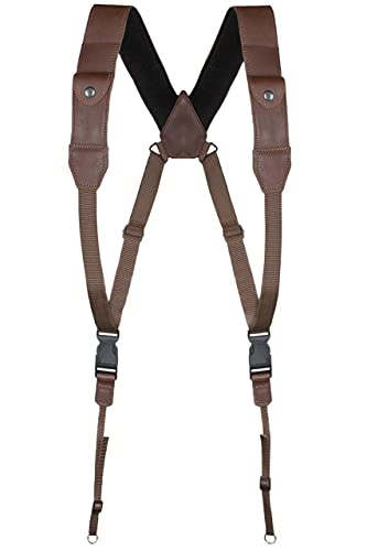 COIRO DSLR Camera Chest Harness – Leather Harness Women and Men – Comfortable Weight Distribution – Binocular Harness Ideal for Hiking – 2 Side Pockets for Batteries and Memory Card (Brown)