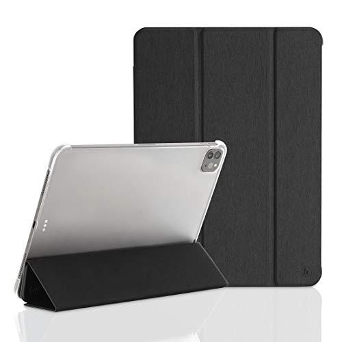 Hama Case iPad Pro 2020 12.9 Zoll (aufklappbare Schutz-Hülle für Displays mit 12 9\'\', Cover für Apple Tablet, Magnetverschluss, transparent) schwarz