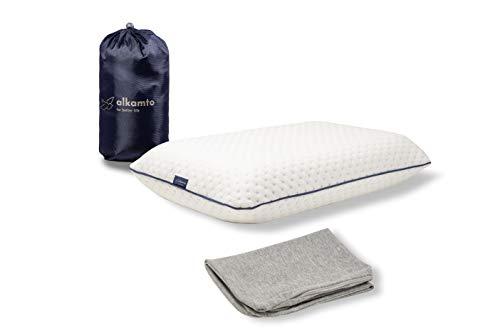 Alkamto Reisekissen - Camping Kissen - Memory-Schaum mit extra Baumwolle Überzug – inklusive Tasche – Orthopädisches Nackenstützkissen Visco Schaum–Temperatur Regulierung /42x27x8,5cm