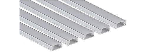 Tecno&Led® -10 METRI 5x2 Profilo Alluminio Piatto CC-32 per strip LED (Lunghezza: 2m - Copertura: Opaca)
