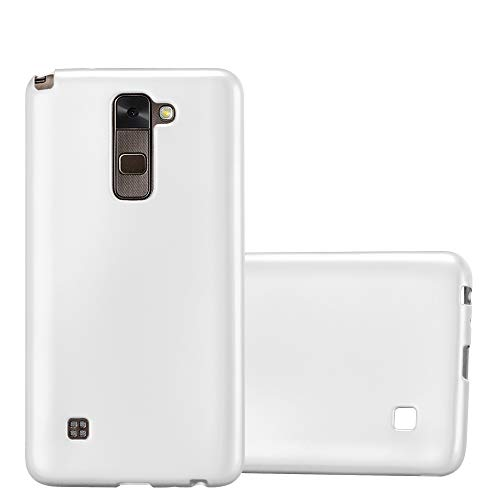 Cadorabo Hülle für LG Stylus 2 - Hülle in METALLIC Silber – Handyhülle aus TPU Silikon im Matt Metallic Design - Silikonhülle Schutzhülle Ultra Slim Soft Back Cover Case Bumper