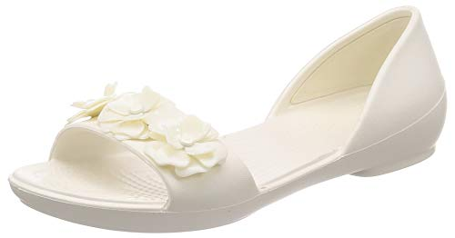crocs Damen Lina Flower Dorsay W Peeptoe Ballerinas, Weiß (Oyster/Oyster 12u), 39/40 EU
