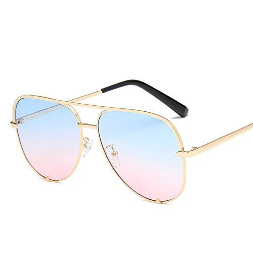 Gafas De Sol Gafas De Sol Plata Espejo Gafas De Sol De Metal Gafas De Sol Mujer Hombre Gradiente Negro Sombras-Gold_Blue_Pink