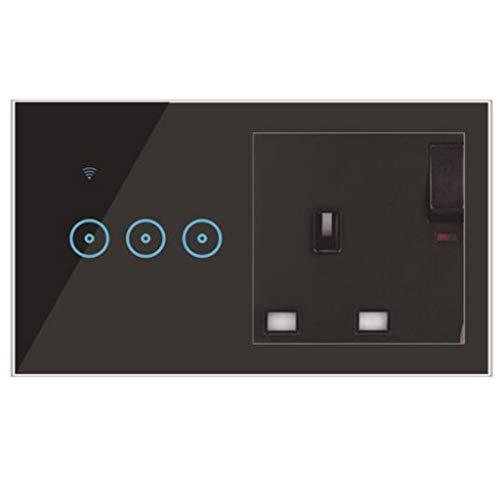 BCDL Interruptor de Pared táctil Ligero LED de WiFi, Neutro requerido 1/2/3 GAND Y 5 Agujero sobre Universal UK Smart 16A Socket USB Cambio de USB con Alexa y GoogleHome 1115