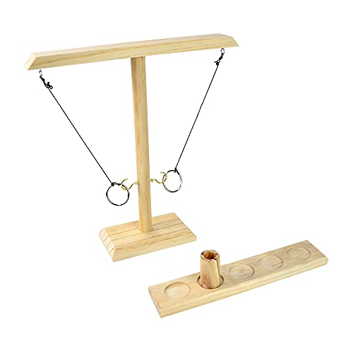 MEISHANG Ring Toss Hook & Ring Indoor,Toss Haken & Ring Spiel,Tischplatten-Ringwurfspiele,Handgemachte hölzerne Ringwurfhaken,Premium Ring Toss Game Hook,Ringwurfspiel aus Holz