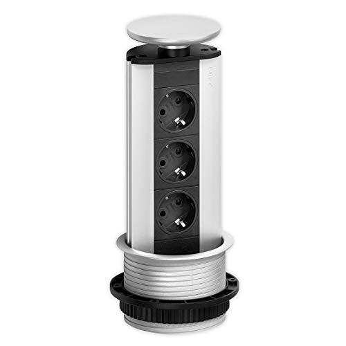 EVOline 93100001 Steckdosenturm 3fach Schwarz-Silber Schutzkontakt