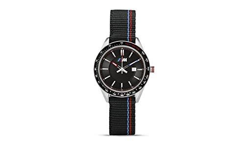 BMW Reloj de pulsera con logotipo de M genuino para hombre, correa de nailon resistente al agua, color negro 80262406693
