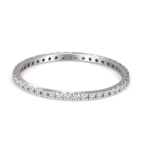 IGI Certified Lab Grown Diamond Ring 14K White Gold 3/4 carat Lab Created Diamond Eternity Band Ring For Women (3/4 CTTW, IJ Color, SI2-I1 Clarity Diamond Jewelry For Women)