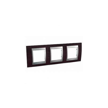 SCHNEIDER - Placas de acabado Unica Top Alu - SCH-UNIPLQTOPALU - horizontal, wenge, 3 x módulos 71 mm, SCH-MGU66-006-0M3