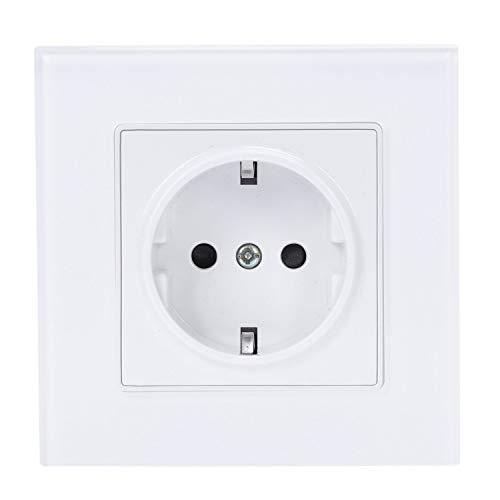 SODIAL Blanco Estándar de La Ue Enchufe de Potencia, Panel de Vidrio de Cristal Blanco, Ac 110~250V 16A Enchufe de Potencia de Pared