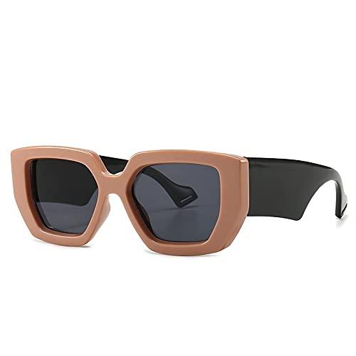 Gafas de sol unisex retro cuadradas con marco grande, espejo degradado, accesorios de rendimiento para fiestas (color : C, tamaño: M)
