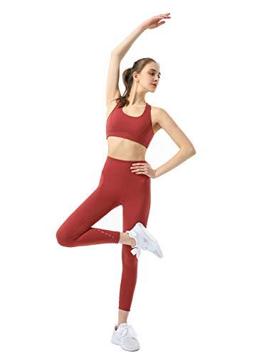 Eagool Ensembles d'entraînement pour Femmes 2 pièces Tenues Leggings de Yoga Taille Haute et Soutien-Gorge de Sport vêtements de Sport Petite Brique Rouge,S