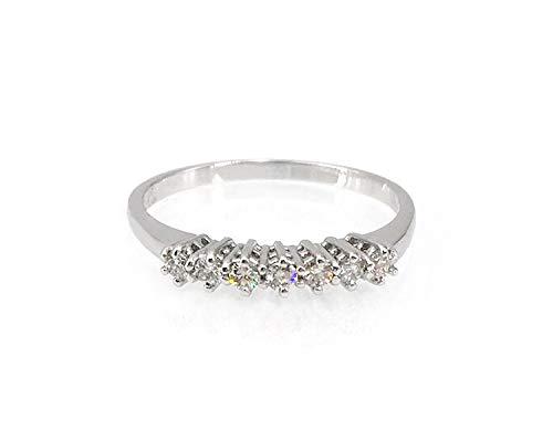 Anello Donna Oro Bianco 18 kt veretta Sette Diamanti 0,19 ct.