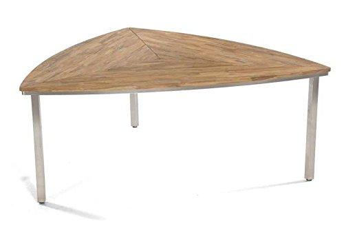 """SonnenPartner Tisch \""""New Orleans-Triangel\"""" 170 cm Abmessungen: 170 x 170 x 75 cm Tischhöhe: 75 cm Material Gestell: Edelstahl Material Tischplatte: Old-Teak-Look Gewicht: 37 Kg"""