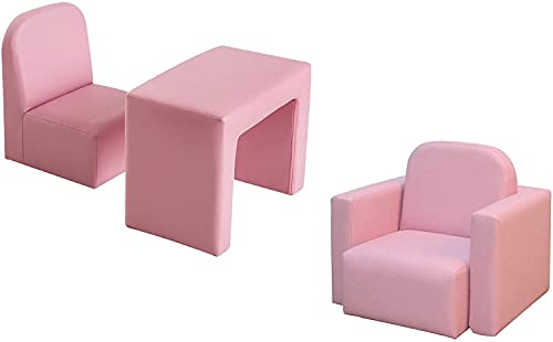 Radelldar Kids Sofa Multifunctional 2 in 1 Pink Children's Armchair Sofa Kids Chair and Table Set/Stool for Girls & Boys No-Assembly (Pink)