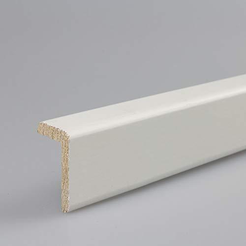 Winkelleiste Schutzwinkel Winkelprofil Tapeten-Eckleiste Abschlussleiste Abdeckleiste in weiß lackiert aus Kiefer-Massivholz 2400 x 19 x 33 mm