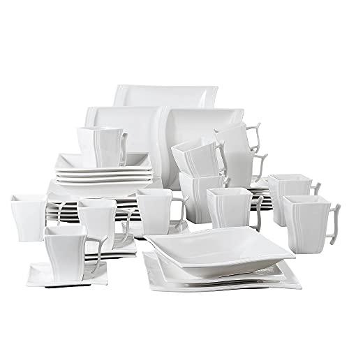 MALACASA Flora 36 pièces Service de Table Porcelaine 6 Assiettes à Dessert/Assiette Plate/Assiette Creuse/Tasses avec Soucoupes/Mugs Vaisselles pour 6 Personnes Céramique Blanc Ivoire