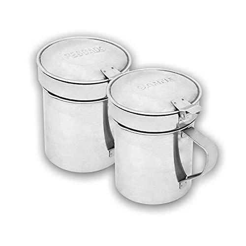 PACK 2 Aceitera aceite usado para cocina completa con filtro de aceite. Grasera aceite usado de acero inoxidable para carne y pescado. Recipiente para reciclaje de aceite con capacidad de 550ml.
