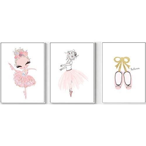 WTHKL Ballerina Tanzendes Mädchen Wandkunst Rosa Kinderzimmer Wandkunst Leinwanddrucke Wohnkultur -20x28 Inch 3Pcs