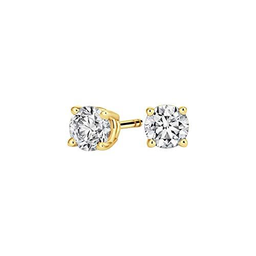 Pendientes de tuerca unisex de plata de ley 925 chapada en oro amarillo de 14 quilates con diamante de corte redondo de 3 mm-10 mm D/VVS1