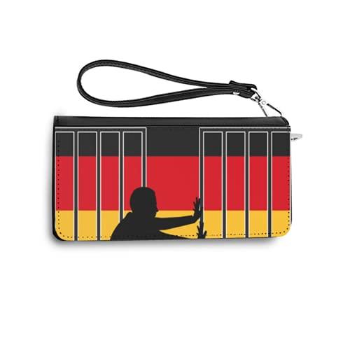 Carteras de Mujer Monedero Largo de Cuero Germany Welcomes Refugees Concept Sign for The Refugee and Asylum Policy in germanyPU de Moda Cartera con Tarjetero para Mujer Organizar One Size
