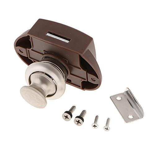 RONGSHU 10 unids Keyless Push Button Gabinete Latch Knob Bloques Ajuste para la Puerta del Armario del cajón de la Autocaravana RV, Pearl Nickel