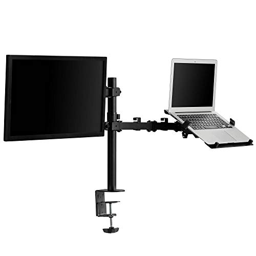 VonHaus Monitor and Laptop Stand – Full Motion Tilt & Rotate Desk Mount - Clamp Workstation with Cable Management