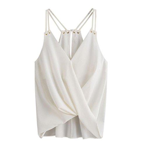 Mujer Blusa,Sonnena Elegante hombro desnudo volante fruncido Tops con tirantes sin manga blusa para mujer y chica joven Muy flojo y suave casual traje de verano fresco