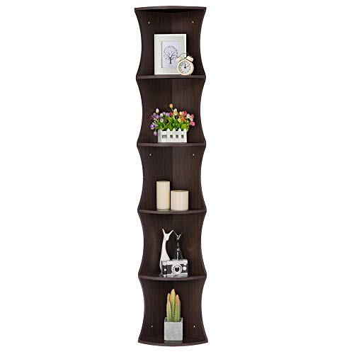 YAHEETECH 5 Tier Brown Round Wall Corner Shelf