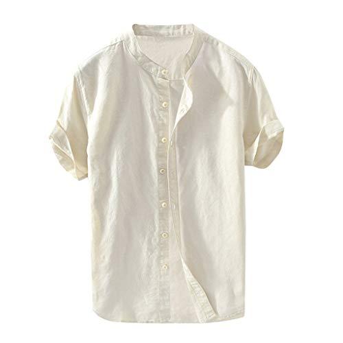 Yowablo Bluse Herren Baggy Baumwolle Leinen Solide Kurzarm Knopf Retro T Shirts Tops (4XL,Khaki)
