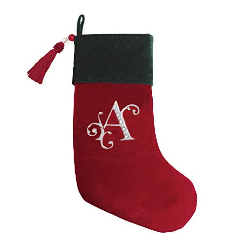 Red & Green Velvet With Tassel Christmas Stocking with Letters