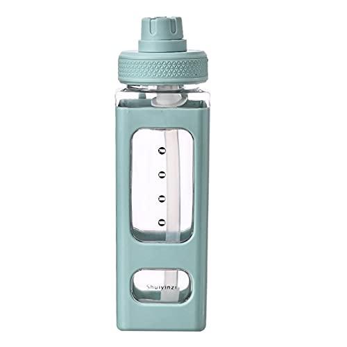Borraccia graduata Bottiglia d'acqua Kawaii da 700 ml con cannuccia e adesivo, borraccia con cannuccia Borraccia quadrata portatile in plastica sportiva (Verde)