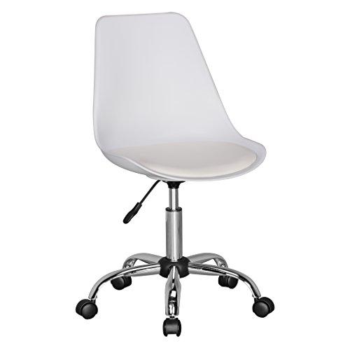 Amstyle Korsika, Drehstuhl mit Kunstleder-Sitzfläche, Design Drehsessel Wartezimmerstuhl ist höhenverstellbar, Schreibtischstuhl mit Rückenlehne, Bürostuhl/ Jugendstuhl mit Schalensitz weiß