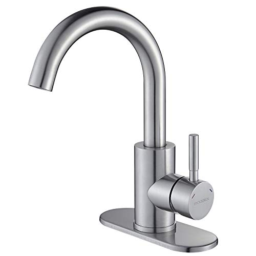 RODDEX Wet Bar Sink Faucet Stainless Steel One Hole 360 Swivel Bar Mixer with 3 Hole Cover Deck Plate Small Modern Single Handle Kitchen Tap for Bath Bathroom Sink Prep Sink, Brushed Nickel