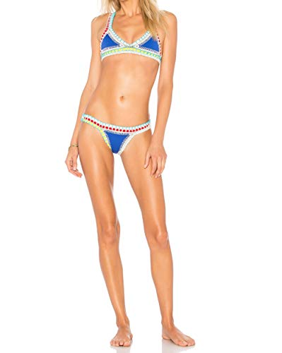 Ducomi OH My! Bikini's Crochet Damen-Badeanzug Triangle Push Up - Abgestimmt und Sexy Neopren-Bikini für Mädchen - Sinnlich Geschnitten und Gehäkelt (S, Blau)