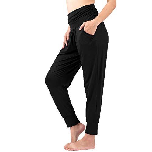 Lofbaz - Pantalones de yoga con bolsillos Negro S