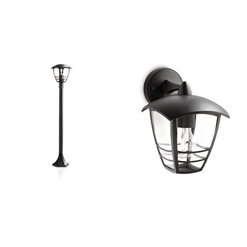 Philips myGarden Creek - Farol, iluminacion Exterior, 1 Bombilla de 60W, Color Negro + Lighting myGarden Creek Aplique de exterior, con brazo, casquillo gordo E27, bombilla no incluida