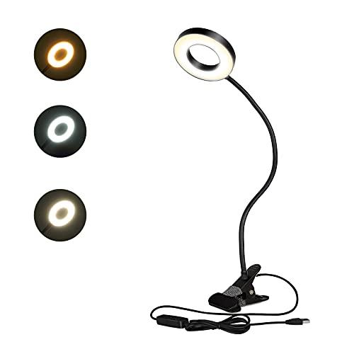 SUNNEST LED- Luz Lectura Lámpara de Escritorio con Panel Táctil Luz de Libro Recargable y 3 Niveles de Brillo (Negro Brillante)