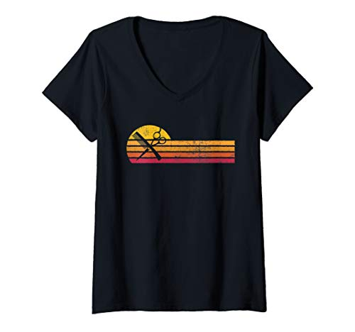 Womens Vintage Style Barber Silhouette Retro Hair Stylist Gift V-Neck T-Shirt
